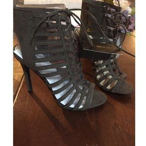 F21 OLIVE CAGE HEELS